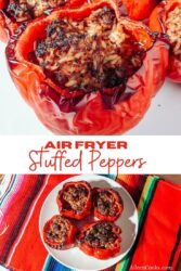 "Collage photo of stuffed peppers with the words ""air fryer stuffed peppers"" in red lettering."