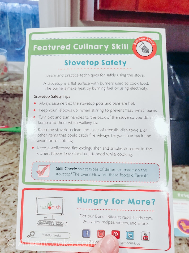 A brochure on stovetop safety for kids.