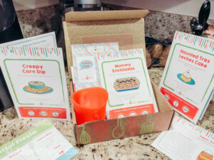 The inside of the Raddish kids cooking subscription box.