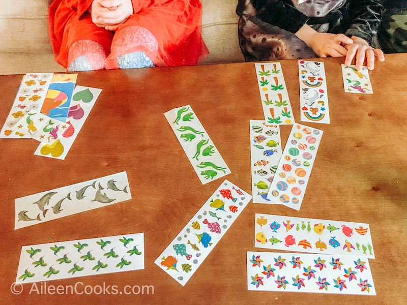 Mrs. Grossman's Stickers spread out on a coffee table.
