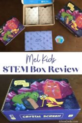 "Collage photo of the front of the Mel Kids box and the contents of the box with the words ""Mel kids STEM box review"" in blue lettering."
