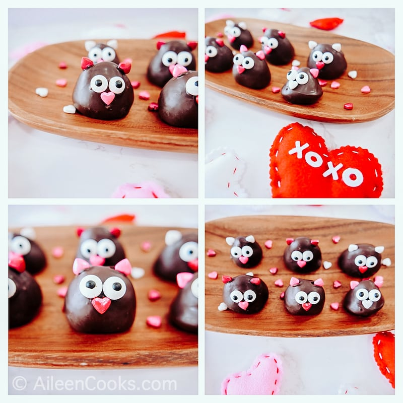 Collage photo of chocolate covered strawberry love birds.