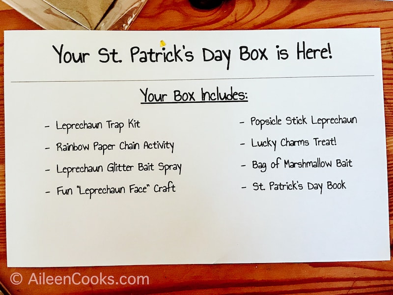 The packing list for the March Making Memories Box