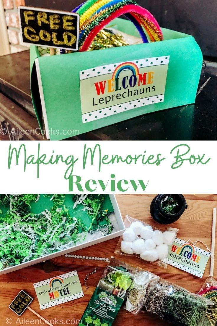 "collage photo of leprechaun trap and everything needed to build the trap with the words ""making memories box review"" in green lettering in the center."