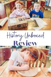 "Collage photo of two pictures of the Pharaohs unboxed box and the words ""history unboxed review"" in blue lettering in the center."