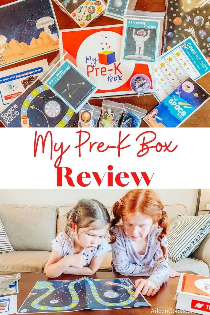 Collage photo of my pre-k box and girls playing a board game.