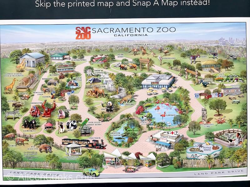 Map of the Sacramento Zoo.