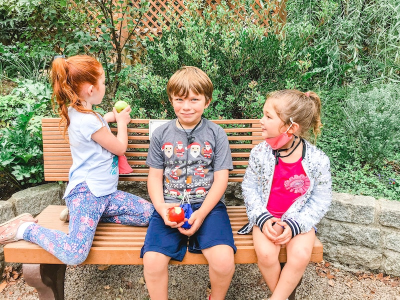 Three kids sitting on a bench and having a snack.