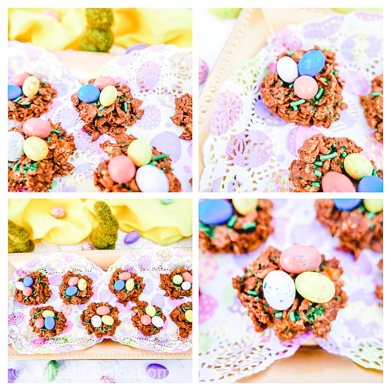 Collage photo of four pictures of bird nest cookies.