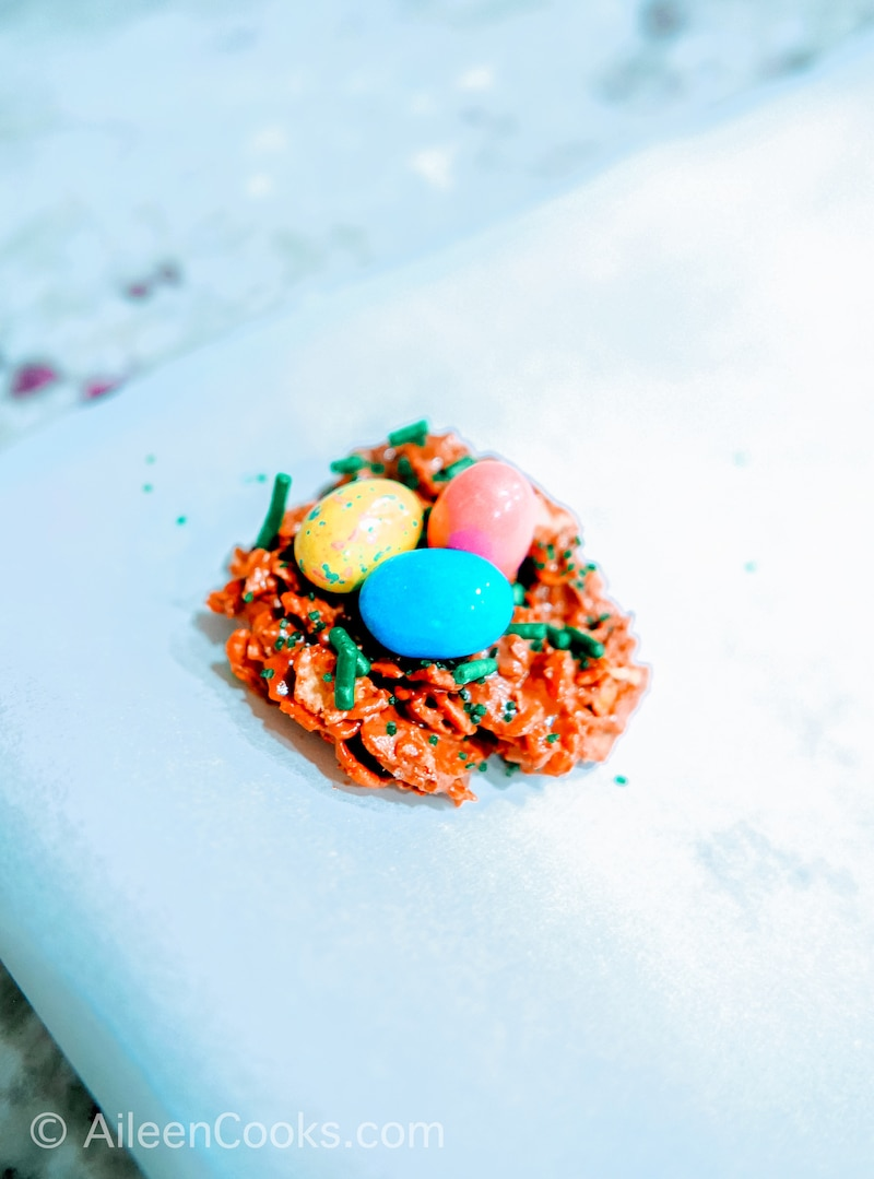 Chocoalte birds nest topped with three mini Robins Eggs candies.