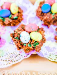 Close up of a birds nest cookie.