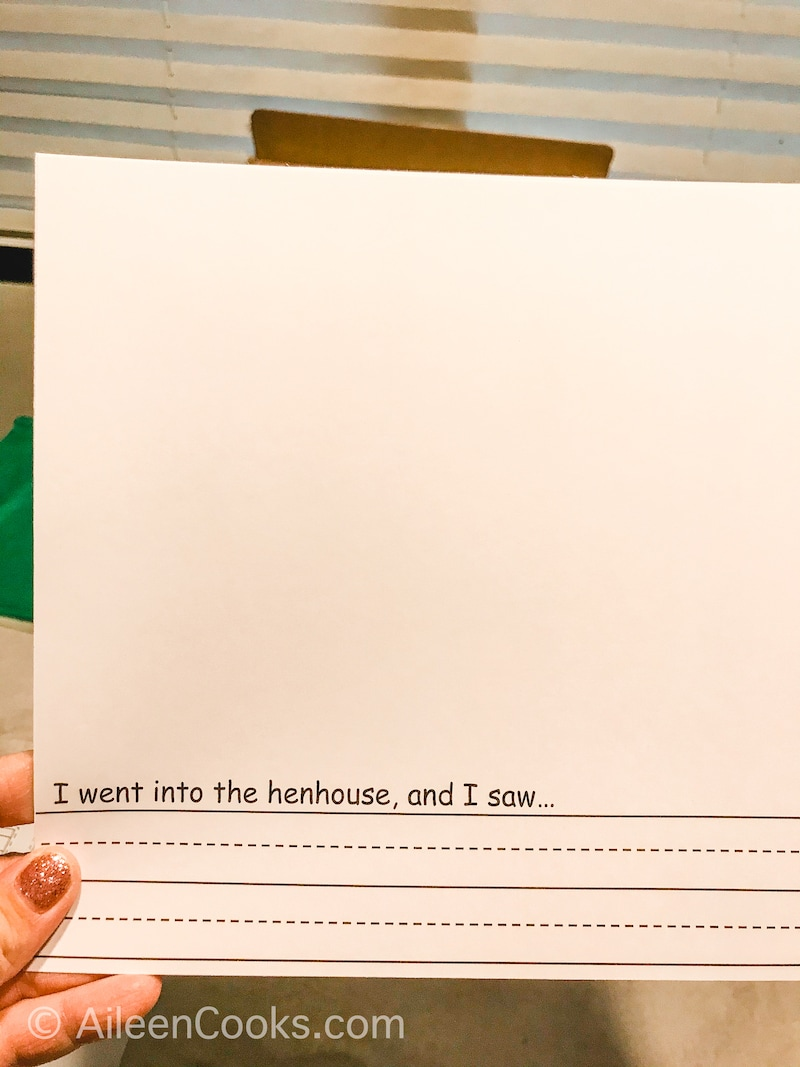 A writing project with room to complete a sentence and draw a picture.