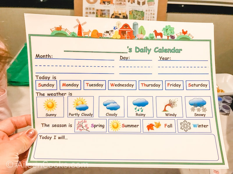 A laminated calendar that can be filled out with dry eraser marker.