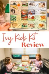 """Collage photo of ivy kids kit contents with the words """"ivy kids kit review"""" in red lettering."""