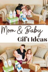 collage photo of mom with baby and daughter next to various baby gift items.