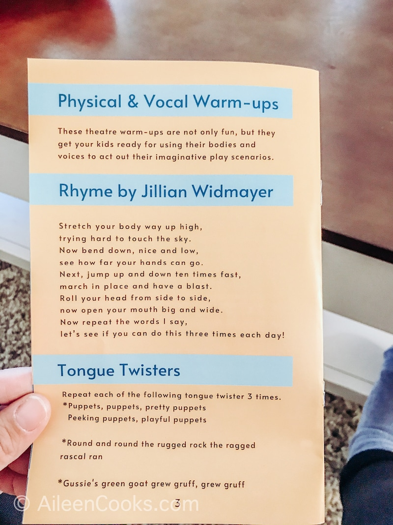 A peek inside the Places, Please! parent card with tongue twister and warm-up ideas.