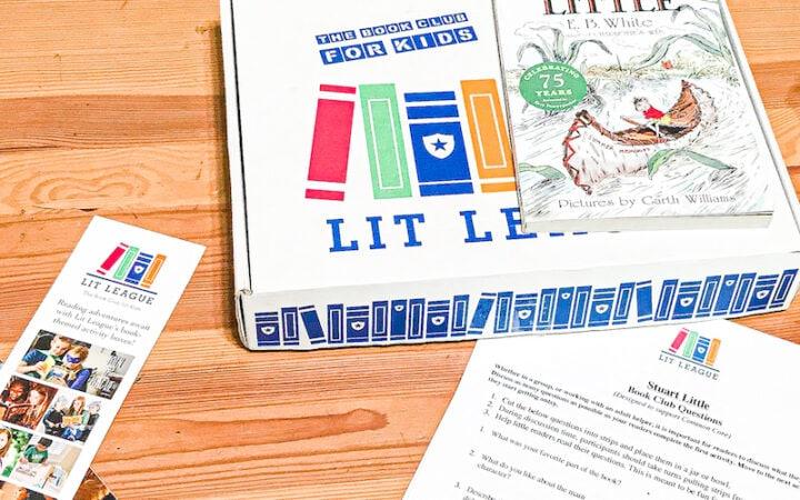 Stuart Little the book on top of a Lit League subscription box.