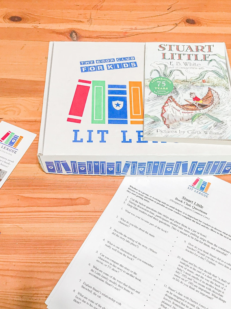 """A white box with the words """"Lit League"""" next to the book Stuart Little."""