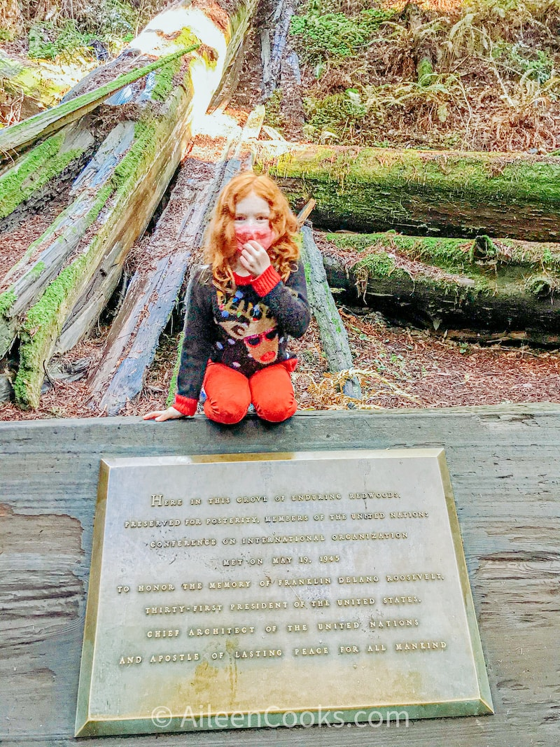 A girl perched on top of a plaque about the history of Muir Woods and National Parks.