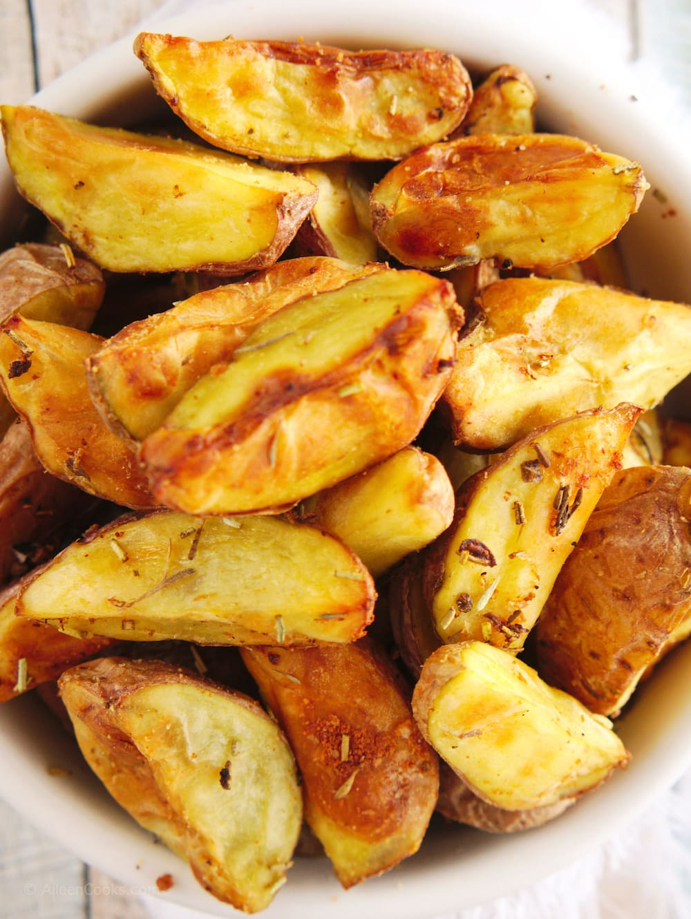 Close up of crispy air fried baby red potatoes.