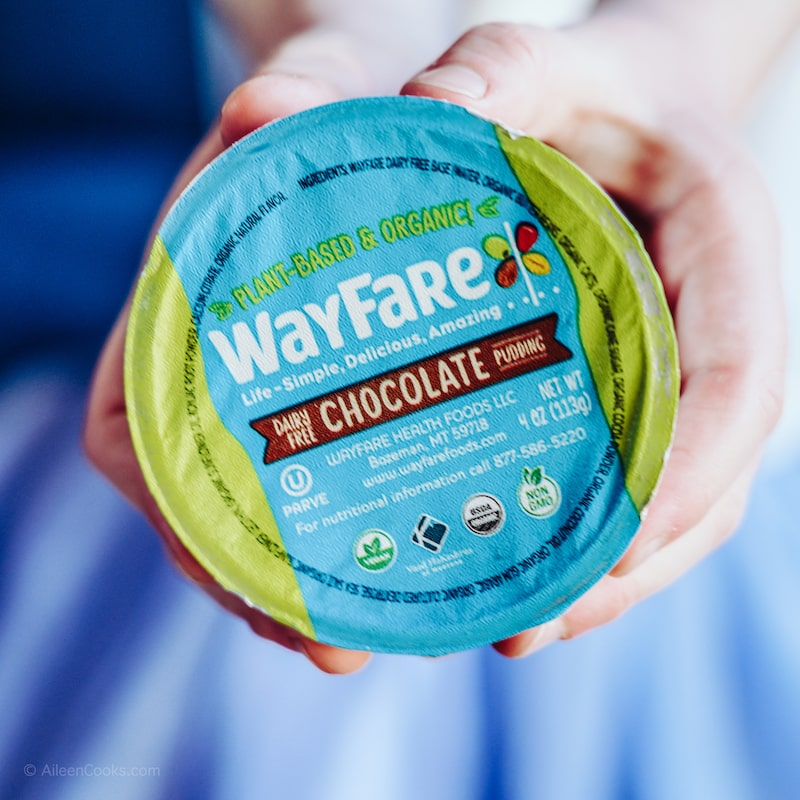 Close up of the Wayfare Chocolate Pudding cup.