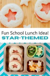 Collage photo with a close-up picture of star shaped sandwiches and a picture of the bento box lunch.