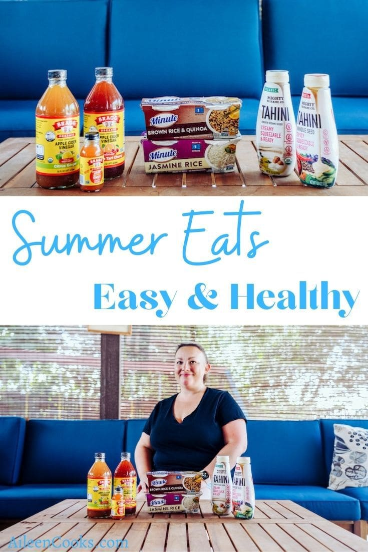 """A collage photo of a blue couch and the words """"summer eats easy & healthy"""" in blue lettering."""