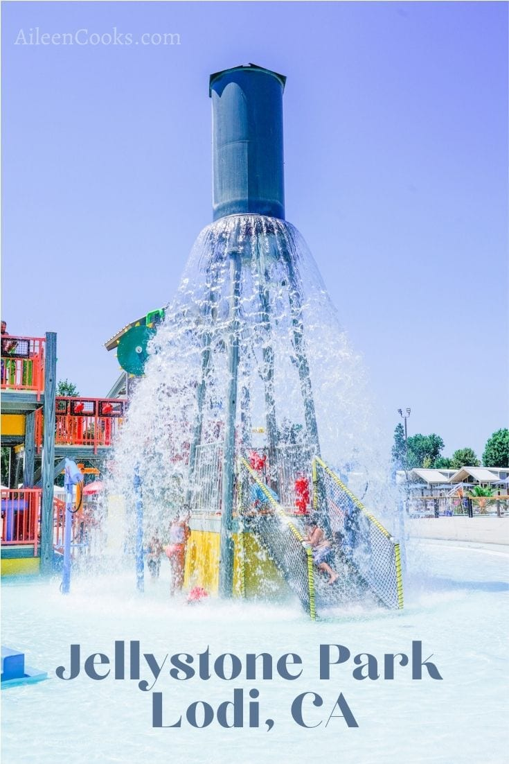 The giant water feature dumping water at Tower Park resort in Lodi, CA.