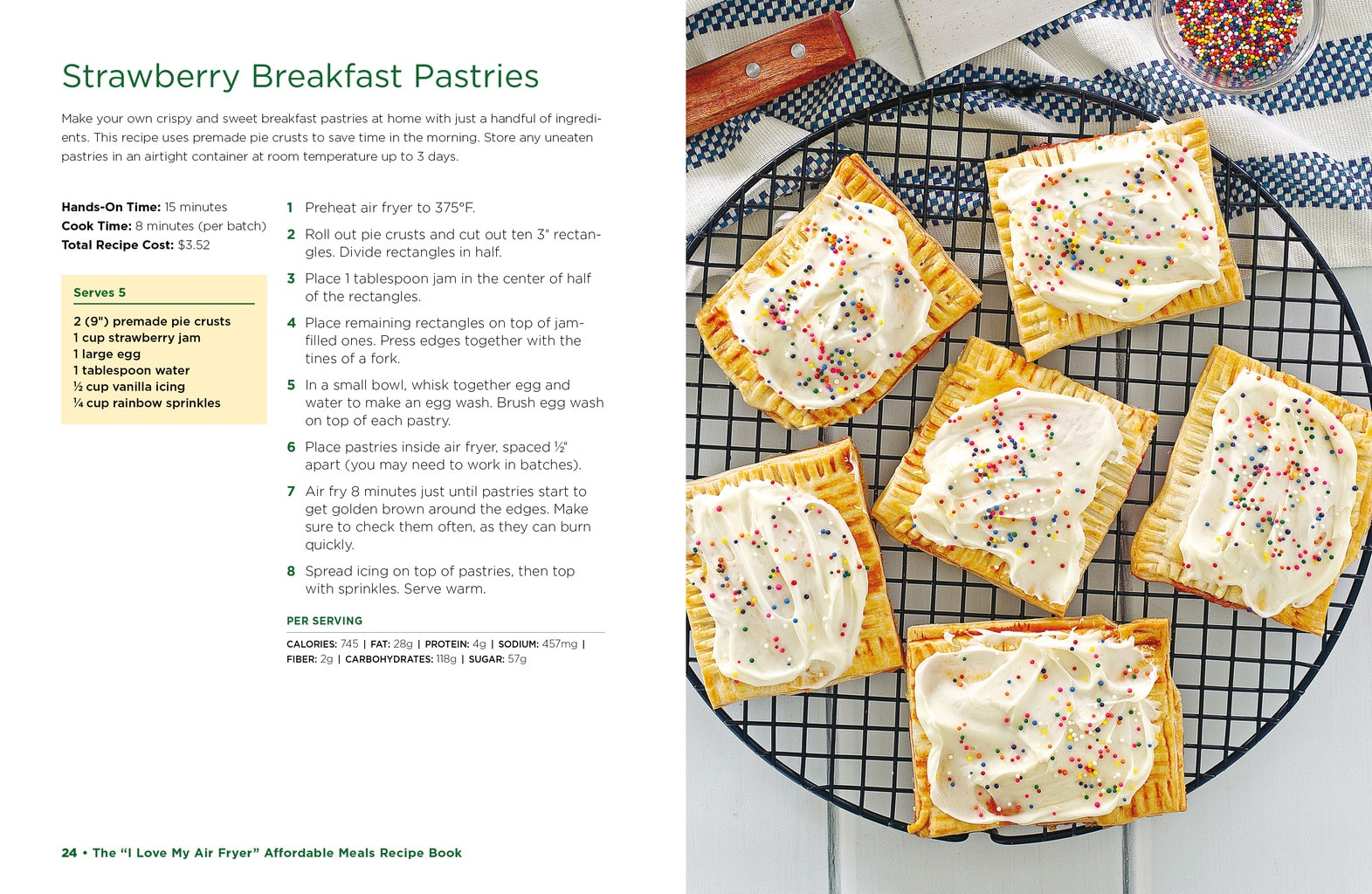 Image of air fryer breakfast pastries next to full recipe.