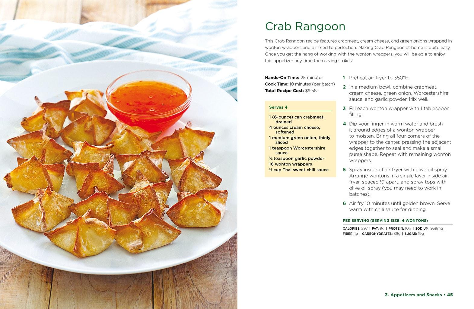 Image of air fryer crab rangoon next to recipe