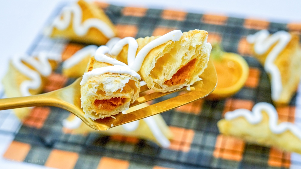 Close up of the inside of an air fried pumpkin turnover.